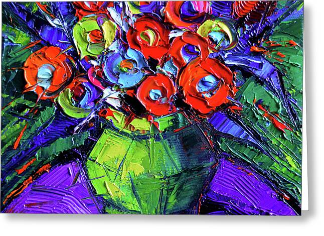Colorful Flowers On Round Purple Table Greeting Card