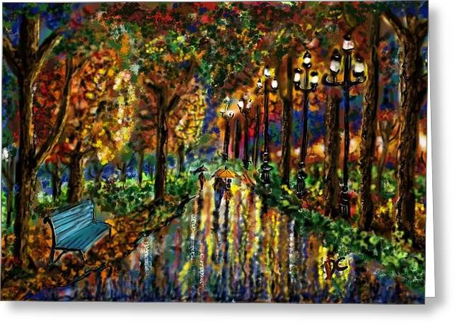 Greeting Card featuring the digital art Colorful Forest by Darren Cannell