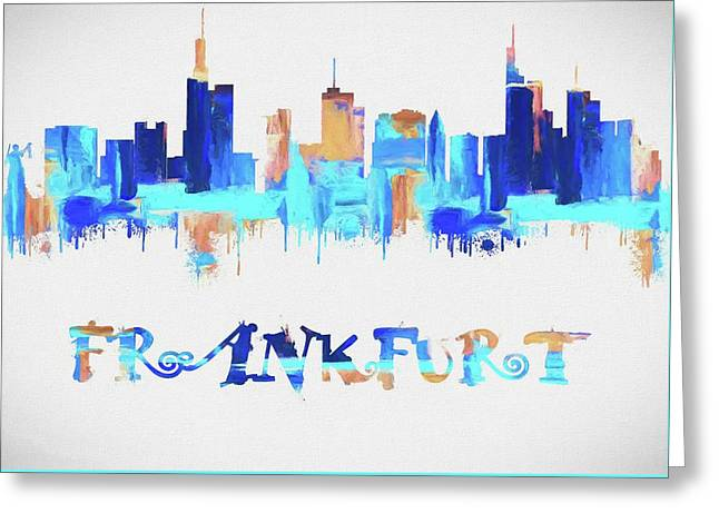 Colorful Frankfurt Skyline Silhouette Greeting Card by Dan Sproul