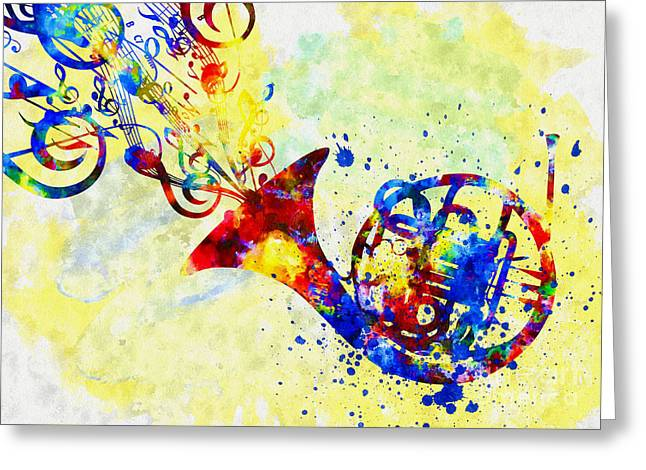 Colorful French Horn Greeting Card