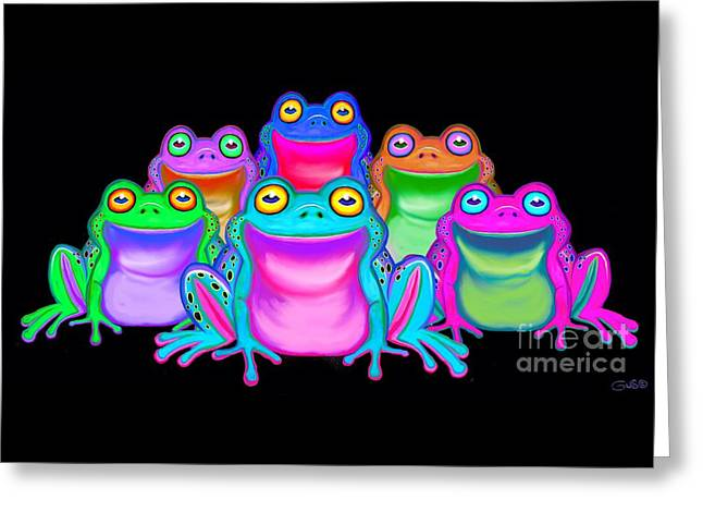 Greeting Card featuring the painting Colorful Froggies by Nick Gustafson