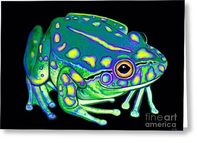 Greeting Card featuring the painting Colorful Froggy 2 by Nick Gustafson