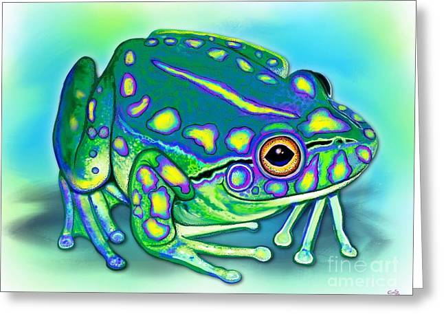Greeting Card featuring the painting Colorful Froggy by Nick Gustafson