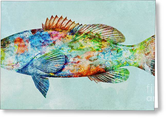 Colorful Gag Grouper Art Greeting Card