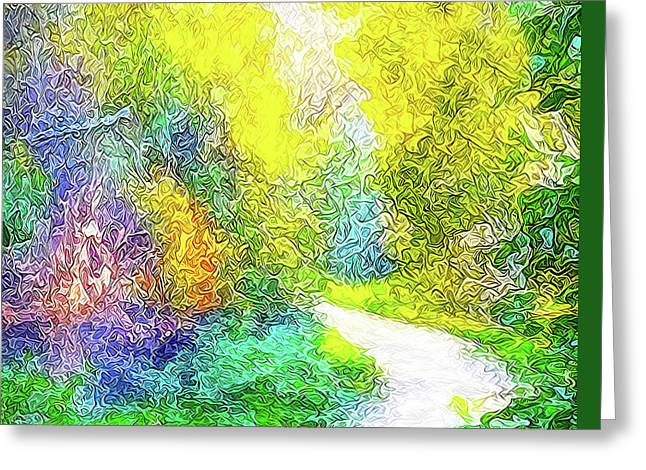 Greeting Card featuring the digital art Colorful Garden Pathway - Trail In Santa Monica Mountains by Joel Bruce Wallach
