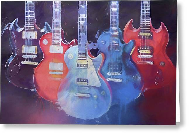 Colorful Gibson Guitars Greeting Card
