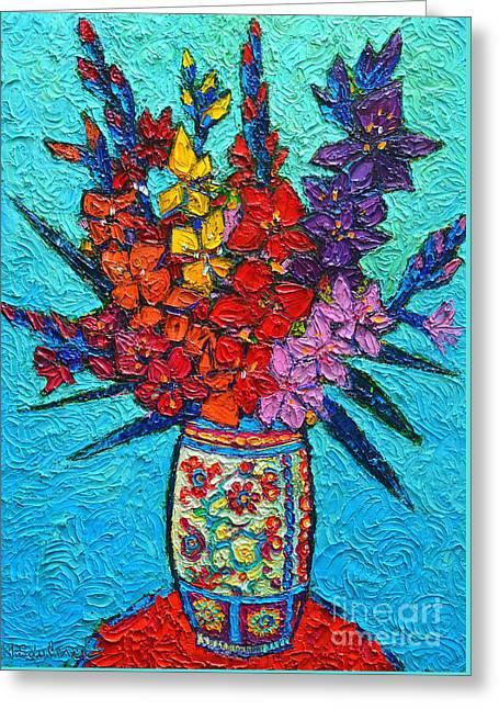 Colorful Gladiolus Greeting Card by Ana Maria Edulescu