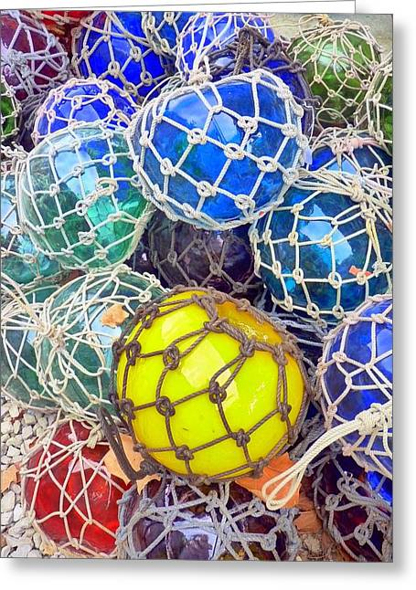 Colorful Glass Balls Greeting Card by Carla Parris