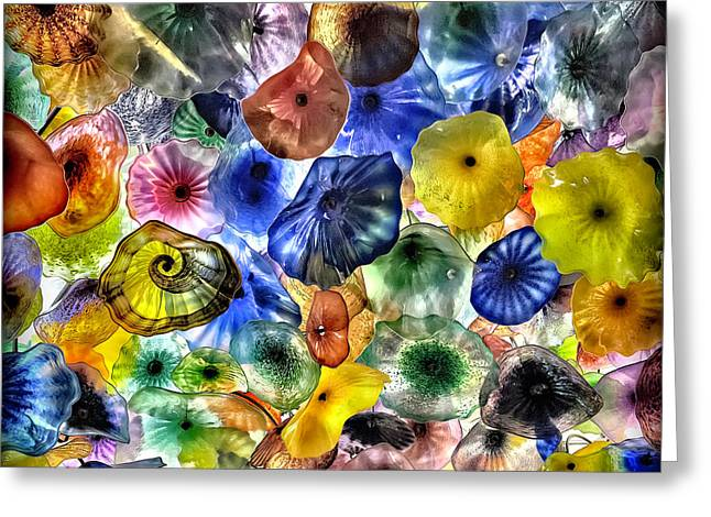 Colorful Glass Ceiling In Bellagio Lobby Greeting Card