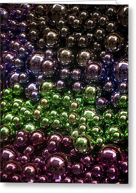 Colorful Glittering Christmas Balls Greeting Card by Jenny Rainbow