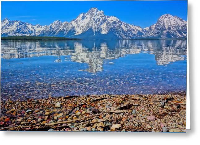 Colorful Grand Teton Reflection From Dollar Island Greeting Card