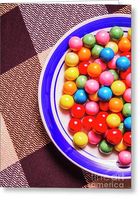 Colorful Gumballs On Plate Greeting Card by Jorgo Photography - Wall Art Gallery