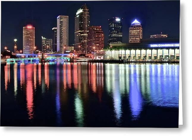 Colorful Harbor In Tampa Bay Greeting Card by Frozen in Time Fine Art Photography