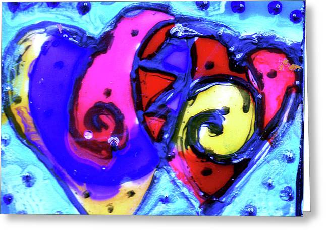 Colorful Hearts Equals Crazy Hearts Greeting Card by Genevieve Esson