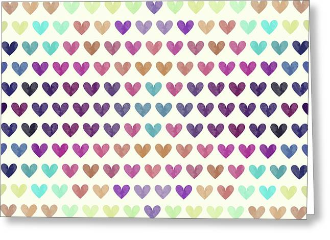 Colorful Hearts IIi Greeting Card by Amir Faysal