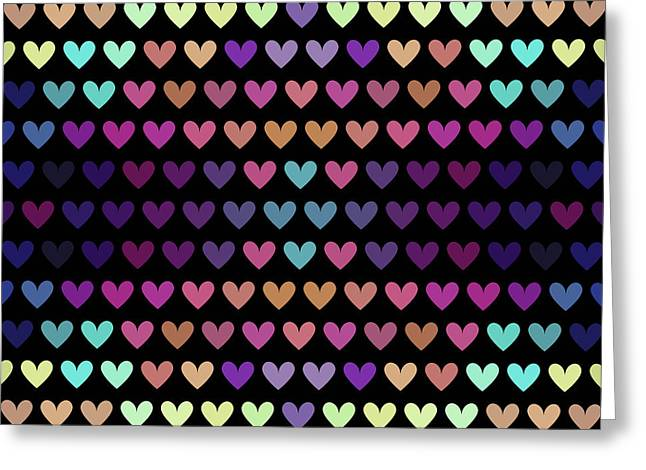 Colorful Hearts Iv Greeting Card