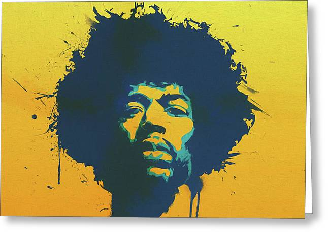 Colorful Hendrix Pop Art Greeting Card by Dan Sproul