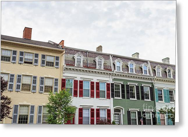Colorful Historic Row Houses Greeting Card by Edward Fielding