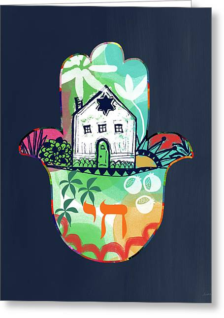 Greeting Card featuring the mixed media Colorful Home Hamsa- Art By Linda Woods by Linda Woods