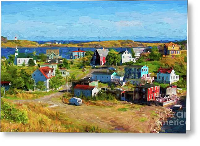Colorful Homes In Trinity, Newfoundland - Painterly Greeting Card by Les Palenik