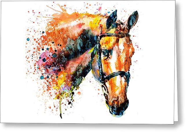 Colorful Horse Head Greeting Card by Marian Voicu