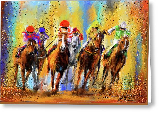 Colorful Horse Racing Impressionist Paintings Greeting Card