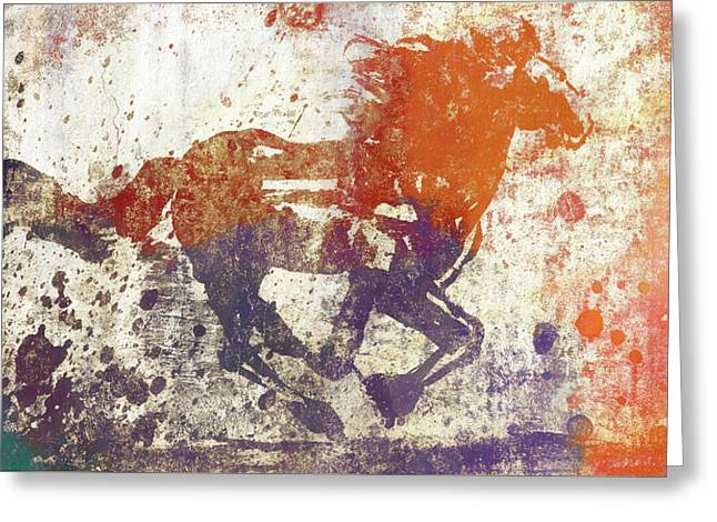 Colorful Horse Running Grunge Greeting Card by Dan Sproul
