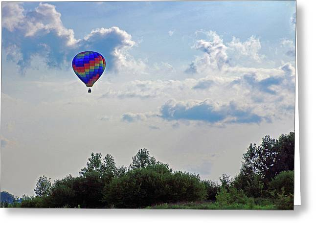 Greeting Card featuring the photograph Colorful Hot Air Balloon by Angela Murdock