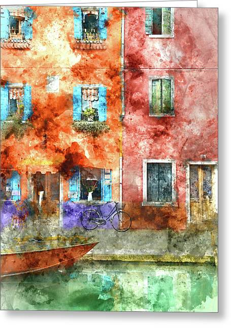 Colorful Houses In Burano Island, Venice Greeting Card