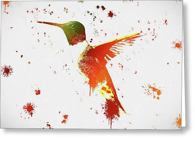 Colorful Hummingbird Paint Splatter Greeting Card by Dan Sproul