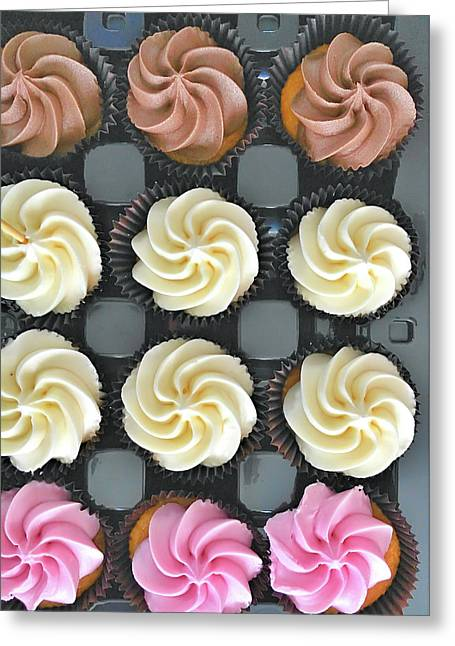 Colorful Iced Cupcakes Greeting Card by Tom Gowanlock
