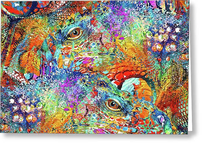 Colorful Iguana Art - Tropical Two - Sharon Cummings Greeting Card