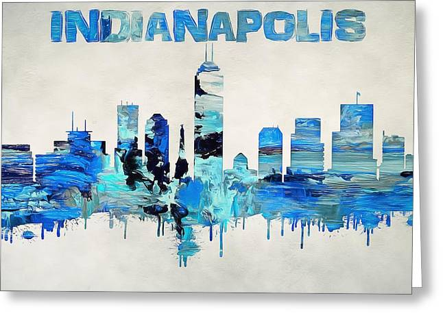 Colorful Indianapolis Skyline Silhouette Greeting Card