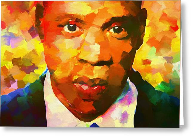 Colorful Jay Z Palette Knife Greeting Card by Dan Sproul