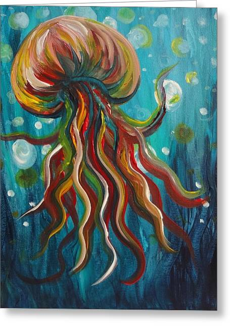 Colorful Jellyfish Greeting Card