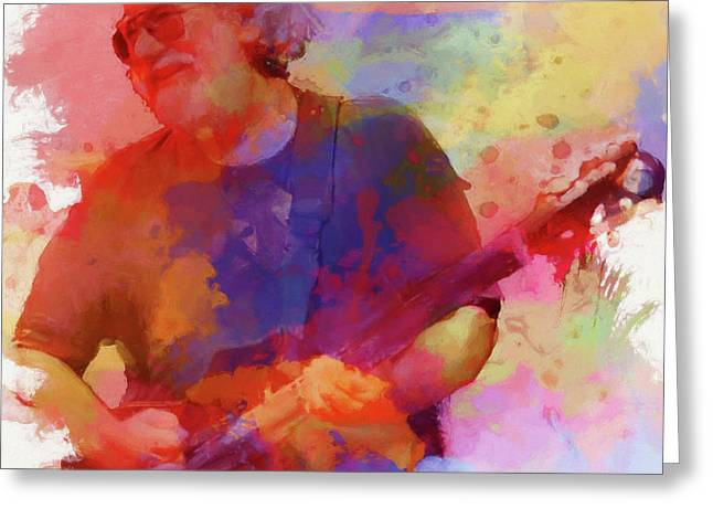 Colorful Jerry Garcia Greeting Card by Dan Sproul