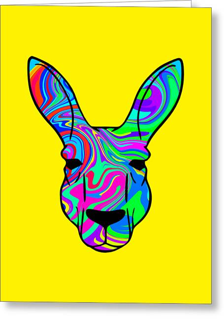 Colorful Kangaroo Greeting Card by Chris Butler