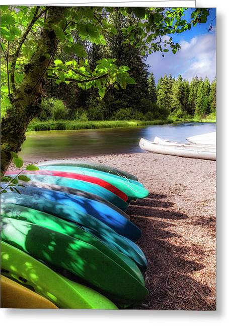 Colorful Kayaks Greeting Card by Cat Connor