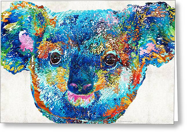 Colorful Koala Bear Art By Sharon Cummings Greeting Card