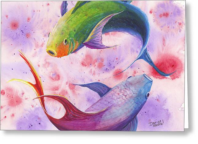 Greeting Card featuring the painting Colorful Koi by Darice Machel McGuire