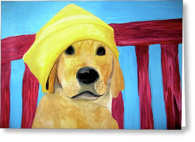 Greeting Card featuring the painting Colorful Lab by Rebecca Wood