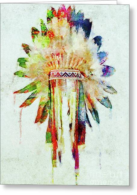 Colorful Lakota Sioux Headdress Greeting Card
