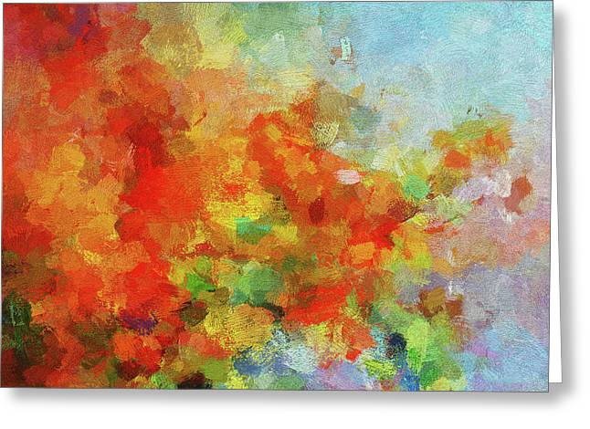 Greeting Card featuring the painting Colorful Landscape Art In Abstract Style by Ayse Deniz