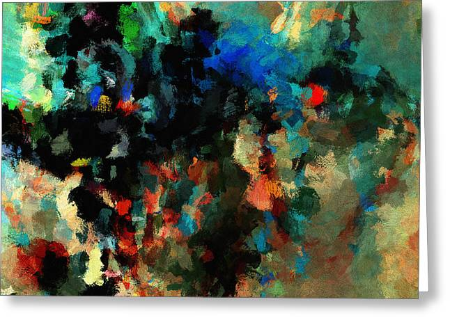 Greeting Card featuring the painting Colorful Landscape / Cityscape Abstract Painting by Ayse Deniz