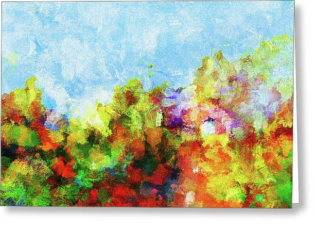 Greeting Card featuring the painting Colorful Landscape Painting In Abstract Style by Ayse Deniz