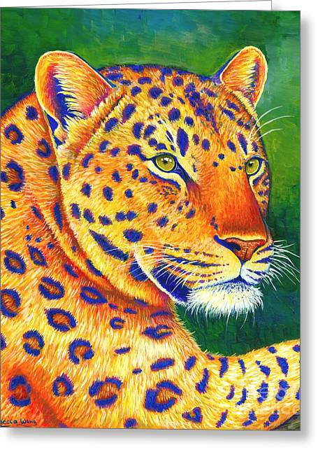 Colorful Leopard Portrait Greeting Card