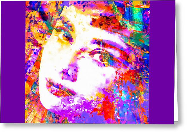 Colorful Life - Audrey Hepburn Greeting Card by Stacey Chiew