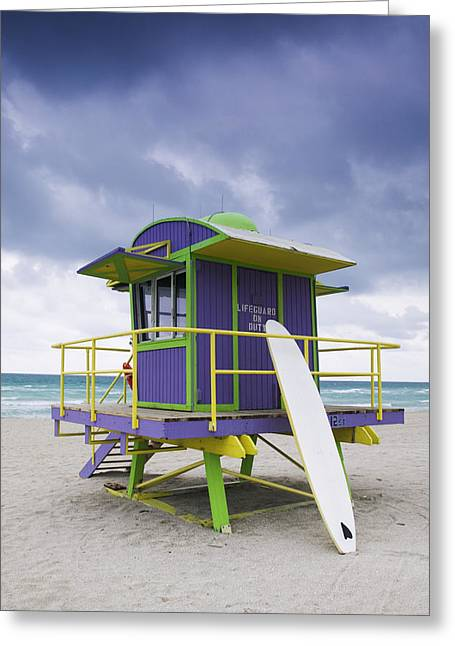 Colorful Lifeguard Station And Surfboard Greeting Card