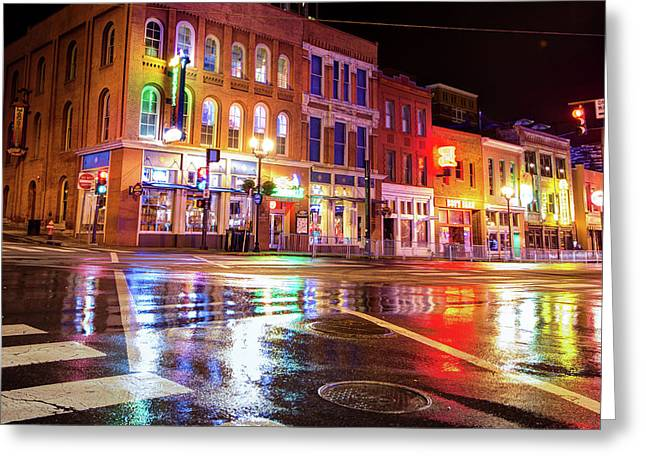 Colorful Lights Of The Music City - Nashville Tennessee  Greeting Card