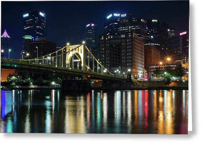 Colorful Lights On The Allegheny Greeting Card by Frozen in Time Fine Art Photography